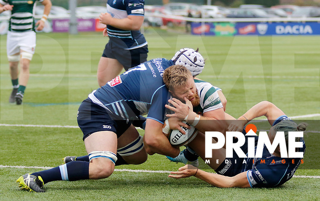 Ealing's Rhys Lawrence scores during the Greene King IPA Championship match between Ealing Trailfinders and Bedford Blues at Castle Bar , West Ealing , England  on 29 October 2016. Photo by Carlton Myrie / PRiME Media