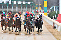 HOT SPRINGS, AR - FEBRUARY 19: Rocking The Boat #9 with jockey Fernando De La Cruz (green and red jersey) with an early lead in the Razorback Handicap at Oaklawn Park on February 19, 2018 in Hot Springs, Arkansas. (Photo by Ted McClenning/Eclipse Sportswire/Getty Images)