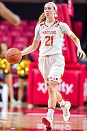 College Park, MD - NOV 16, 2016: Maryland Terrapins guard Sarah Myers (21) bring the ball up court during game between Maryland and Maryland Eastern Shore Lady Hawks at XFINITY Center in College Park, MD. The Terps defeated the Lady Hawks 106-61. (Photo by Phil Peters/Media Images International)