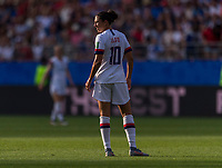 REIMS,  - JUNE 24: Carli Lloyd #10 surveys the field during a game between NT v Spain and  at Stade Auguste Delaune on June 24, 2019 in Reims, France.