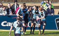 Celebrations as Michael Harriman of Wycombe Wanderers scores his goal during the Sky Bet League 2 match between Wycombe Wanderers and Mansfield Town at Adams Park, High Wycombe, England on 25 March 2016. Photo by Andy Rowland.