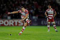 James Hook of Gloucester Rugby takes a 50m kick just before half time to make the score 13-3 during the European Rugby Challenge Cup semi final match between Gloucester Rugby and Exeter Chiefs at Kingsholm Stadium on Saturday 18th April 2015 (Photo by Rob Munro)