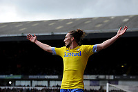 Leeds United's Luke Ayling celebrates Mateusz Klich scoring his side's equalising goal to make the score 1-1<br /> <br /> Photographer Hannah Fountain/CameraSport<br /> <br /> The EFL Sky Bet Championship - Ipswich Town v Leeds United - Sunday 5th May 2019 - Portman Road - Ipswich<br /> <br /> World Copyright © 2019 CameraSport. All rights reserved. 43 Linden Ave. Countesthorpe. Leicester. England. LE8 5PG - Tel: +44 (0) 116 277 4147 - admin@camerasport.com - www.camerasport.com