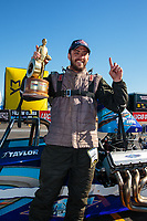 Feb 11, 2019; Pomona, CA, USA; NHRA top dragster driver John Taylor Jr celebrates after winning the Winternationals at Auto Club Raceway at Pomona. Mandatory Credit: Mark J. Rebilas-USA TODAY Sports