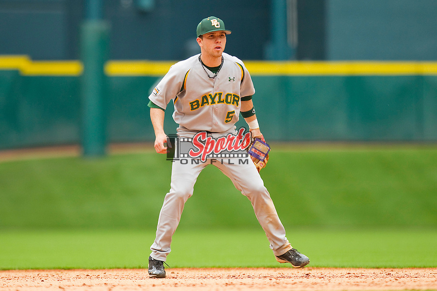Shortstop Landis Ware #5 of the Baylor Bears on defense against the Houston Cougars at Minute Maid Park on March 4, 2011 in Houston, Texas.  Photo by Brian Westerholt / Four Seam Images