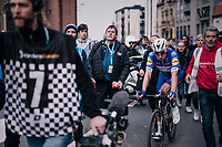 An emotional Elia Viviani (ITA/QuickStep Floors) is escorted to the podium after 'losing' the race (becoming 2nd after Sagan)<br /> <br /> 81st Gent-Wevelgem in Flanders Fields (1.UWT)<br /> Deinze &gt; Wevelgem (251km)