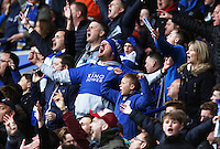 Leicester fans passionately sing during the Barclays Premier League match between Leicester City and Swansea City played at The King Power Stadium, Leicester on April 24th 2016