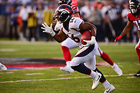 Ohio, Canton - August 1, 2019: Denver Broncos wide receiver Kelvin McKnight #16 runs the ball during a pre-season game against the Atlanta Falcons at the Tom Benson stadium in Canton, Ohio August 1, 2019. This game marks start of the 100th season of the NFL. (Photo by Don Baxter/Media Images International)