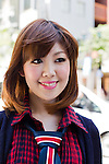 """July 30, 2012 - Tokyo, Japan - Haruka Ikuta, 25, Model. Today's fashion point - Preppy style. Favorite brand - Ed Hardy. Haruka bought her entire outfit from Shibuya 109. She's into """"moe"""" type of fashion. Her favorite place is the Kichijoji area because there are lots of cheap places to eat and shop at. (Photo by Christopher Jue/Nippon News)"""
