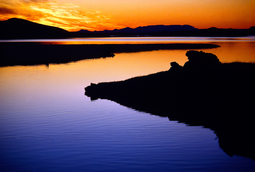 Midnight sun, Lake Myvatn, Northern Iceland