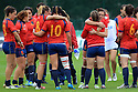 BELFAST, NORTHERN IRELAND - AUGUST 26: Spain's rugby players hug each other after being beat 20-15 against Italy's Melissa during a final play off  in the Women's World Cup Rugby 2017 at Queen's  University Belfast, Saturday,  August 26, 2017. Photo/Paul McErlane
