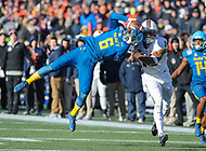 Annapolis, MD - December 28, 2017: Navy Midshipmen safety Sean Williams (6) intercepts the ball during game between Virginia and Navy at  Navy-Marine Corps Memorial Stadium in Annapolis, MD.   (Photo by Elliott Brown/Media Images International)