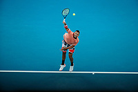 27th January 2020; Melbourne Park, Melbourne, Victoria, Australia; Australian Open Tennis, Day 8; Nick Kyrgios of Australia serves during his match against Rafael Nadal of Spain