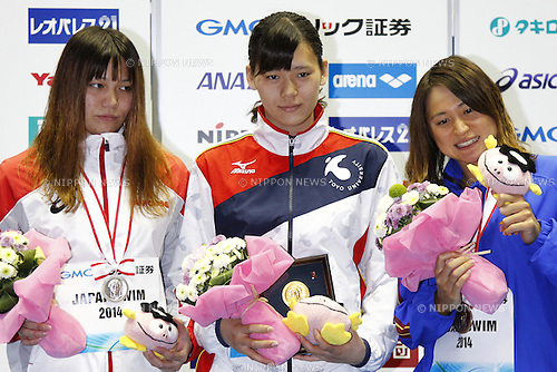 (L-R)<br /> Yayoi Matsumoto,<br /> Miki Uchida,<br /> Misaki Yamaguchi,<br /> APRIL 13, 2014 - Swimming : <br /> JAPAN SWIM 2014 <br /> Women's 50m Freestyle Vicrotry ceremony<br /> at Tatsumi International Swimming Pool, Tokyo, Japan. <br /> (Photo by AFLO SPORT)