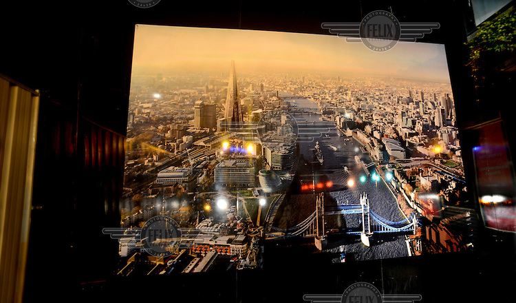 A digitally manipulated picture of Central London showing the Shard as it will look on completion. The picture was mounted on hordings at the Shard construction site at London Bridge. Also in the picture is Tower Bridge (bottom in Blue).