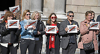 Unidentified protestors display signs on the street in front of the Palau de la Generalitat de Catalunya as they advocate for Catalonian independence from Spain on Tuesday, November 7, 2017. The building is a historic palace in Barcelona, Catalonia, that houses the offices of the Presidency of the Generalitat de Catalunya Barcelona. <br /> Credit: Ron Sachs / CNP /MediaPunch