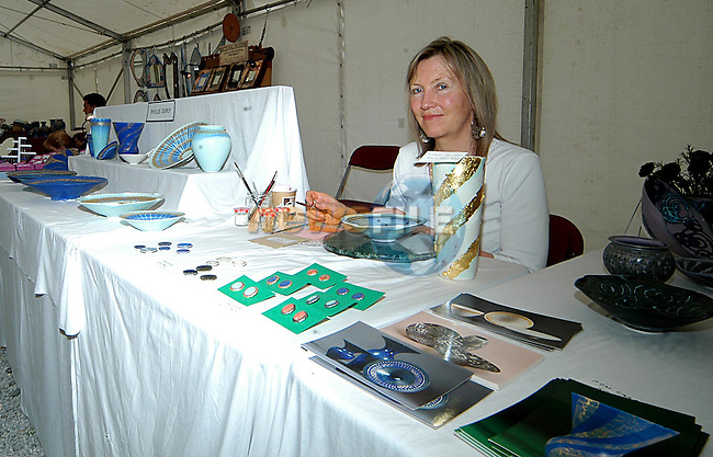 Phyllis Dupuy demonstrates gold leaf painting on ceramics at  Art in action at Townley Hall. Photo: Colin Bell/Newsfile