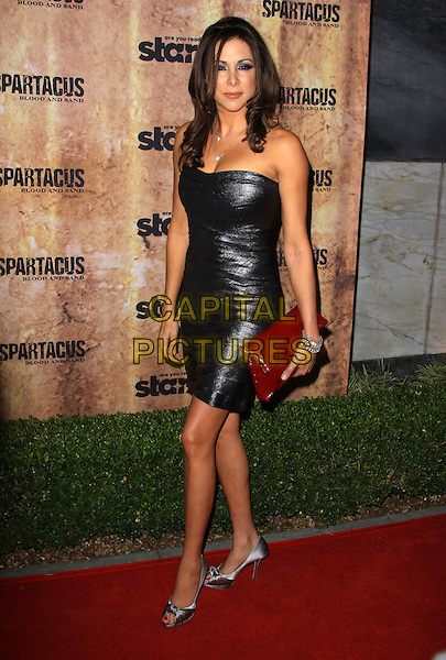 ARLENE TUR.Starz original TV series 'Spartacus: Blood and Sand' held At The Hammer Museum, Westwood, California, USA..January 14th, 2010.full length black sparkly shiny silver metallic dress red clutch bag strapless.CAP/ADM/KB.©Kevan Brooks/AdMedia/Capital Pictures.