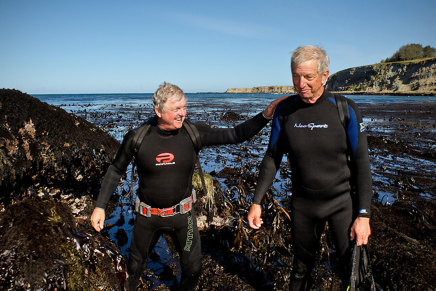 Bob Tankersley, left, and his brother Richard continue their family tradition of abalone diving together since their father first brought them in 1955, at Point Arena, Calif., on June 6, 2012. (Photo by Alvin Jornada, Special to The Chronicle)