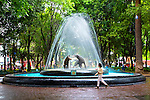 Mexico, Mexico City, Coyoacan Neighborhood, Place of Coyotes, Historic Center, The Plaza del Centenario, Jardin del Centenario, Coyote Bronze Water Fountain Sculpture