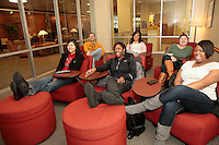 01122011 - Seattle University students hang out in the Bellarmine Hall lobby area as they watch a movie.