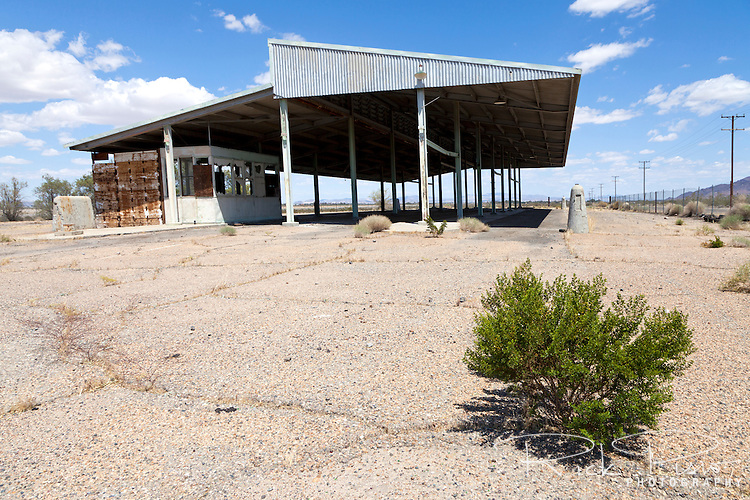 The abandoned agriculture inspection in California's Mojave Desert at Dagget. The inspection station once stopped Route 66 travelers until it was closed in 1965 and relocated 142 miles east on Interstate 40 near the town of Needles.