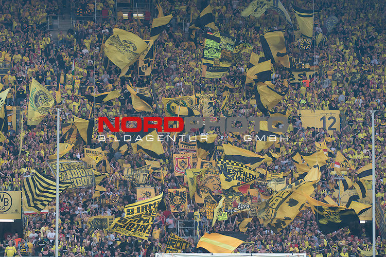 23.08.2013, Signal Iduna Park, Dortmund, GER, 1.FBL, Borussia Dortmund vs Werder Bremen, im Bild<br /> <br /> Dortmund Fan Block Wand Kurve<br /> <br /> Foto &copy; nph / Kokenge