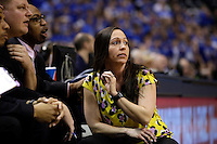Penn head coach Kristi Kaniewski UIrich watches the action from the bench during the IHSAA Class 4A Girls Basketball State Championship Game on Saturday, Feb. 27, 2016, at Bankers Life Fieldhouse in Indianapolis.