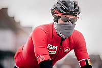 with 5 hours of racing in sub-zero temperatures ahead, you better 'buff-up'! <br /> <br /> 50th GP Samyn 2018<br /> Quaregnon > Dour: 200km (BELGIUM)