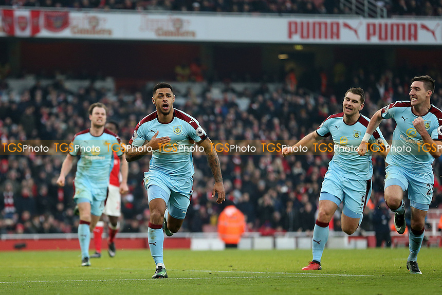 Andre Gray of Burnley celebrates scoring the opening Burnley goal during Arsenal vs Burnley, Premier League Football at the Emirates Stadium on 22nd January 2017