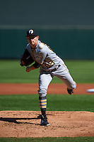 Glendale Desert Dogs pitcher Steven Brault (65) delivers a pitch during an Arizona Fall League game against the Surprise Saguaros on October 23, 2015 at Salt River Fields at Talking Stick in Scottsdale, Arizona.  Glendale defeated Surprise 9-6.  (Mike Janes/Four Seam Images)