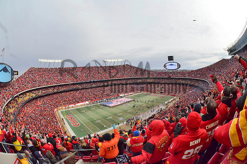 Jan 09, 2011; Kansas City, MO, USA; A genera view of the stadium as a Stealth B2 bomber flies over prior to the 2011 AFC wild card playoff game between the Kansas City Chiefs and Baltimore Ravens at Arrowhead Stadium. Baltimore won 30-7. Mandatory Credit: Your Name-US PRESSWIRE