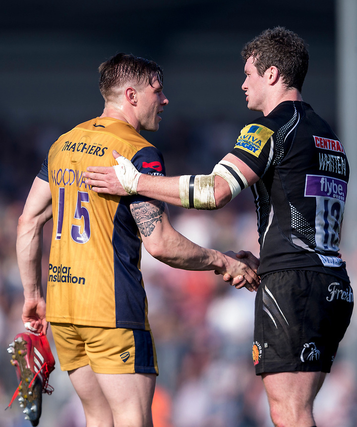 Exeter Chiefs' Phil Dollman and Exeter Chiefs' Ian Whitten shakes hands after the match<br /> <br /> Photographer Bob Bradford/CameraSport<br /> <br /> Aviva Premiership - Exeter Chiefs v Bristol - Saturday 8th April 2017 - Sandy Park - Exeter<br /> <br /> World Copyright &copy; 2017 CameraSport. All rights reserved. 43 Linden Ave. Countesthorpe. Leicester. England. LE8 5PG - Tel: +44 (0) 116 277 4147 - admin@camerasport.com - www.camerasport.com