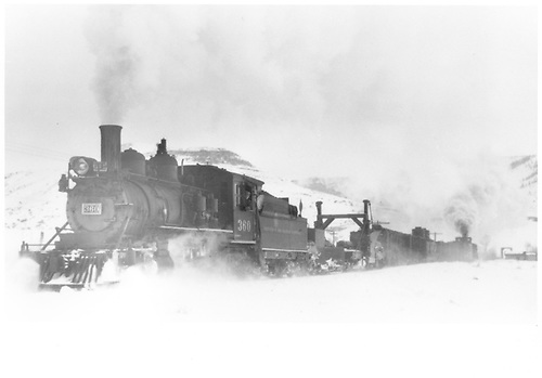 3/4 fireman's-side view of D&amp;RGW #360 trailed by a flanger and a spreader.<br /> D&amp;RGW