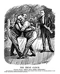 "The Trust Clinch. President Wilson. ""Break away there, gentlemen!"" (Wilson carries a Message To Congress while breaking up two Railway Magnates from hugging during a boxing match)"