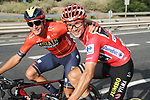 Race leader and overall winner Red Jersey Primoz Roglic (SLO) Team Jumbo-Visma with Mark Padun (UKR) Bahrain-Merida chat during Stage 21 of La Vuelta 2019 running 106.6km from Fuenlabrada to Madrid, Spain. 15th September 2019.<br /> Picture: Luis Angel Gomez/Photogomezsport | Cyclefile<br /> <br /> All photos usage must carry mandatory copyright credit (© Cyclefile | Luis Angel Gomez/Photogomezsport)