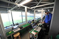 A general view of the Bath Rugby coaches box prior to the match. European Rugby Challenge Cup match, between Bath Rugby and Pau (Section Paloise) on January 21, 2017 at the Recreation Ground in Bath, England. Photo by: Patrick Khachfe / Onside Images