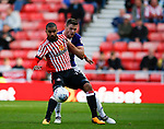 Jack O'Connell of Sheffield Utd and Lewis Grabban of Sunderland during the Championship match at the Stadium of Light, Sunderland. Picture date 9th September 2017. Picture credit should read: Simon Bellis/Sportimage