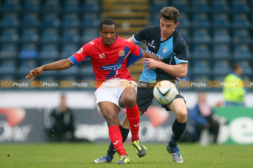 Gavin Hoyte of Dagenham and Redbridge and Steven Craig of Wycombe Wanderers - Wycombe Wanderers vs Dagenham and Redbridge, Sky Bet League Two Football at the Adams Park Stadium - 05/04/14 - MANDATORY CREDIT: Dave Simpson/TGSPHOTO - Self billing applies where appropriate - 0845 094 6026 - contact@tgsphoto.co.uk - NO UNPAID USE