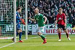 13.04.2019, Weserstadion, Bremen, GER, 1.FBL, Werder Bremen vs SC Freiburg<br /> <br /> DFL REGULATIONS PROHIBIT ANY USE OF PHOTOGRAPHS AS IMAGE SEQUENCES AND/OR QUASI-VIDEO.<br /> <br /> im Bild / picture shows<br /> Jubel 1:0, Davy Klaassen (Werder Bremen #30) bejubelt seinen Treffer per Kopfball über Nico Schlotterbeck (SC Freiburg #49) zum 1:0 gegen Alexander Schwolow (SC Freiburg #01) zum 1:0, <br /> <br /> Foto © nordphoto / Ewert
