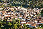 Overhead oblique angle view of village of Alajar, Sierra de Aracena, Huelva province, Spain