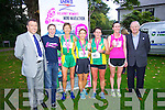 Declan Sheehan (Dawn Dairies) Caitriona Kelly Organiser, Niamh O'Sullivan 1st, Siobhan Daly 2nd, Mary O'Connor 3rd, Orla Gormley 4th and John O'Sullivan (Lee Strand) pictured at Killarney Women's Mini Marathon on Saturday last.