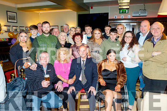 Matt Murphy from Tralee, seated centre, had a great night in Gallys bar, tralee celebrating his 80th birthday last Saturday along with his family and many friends.