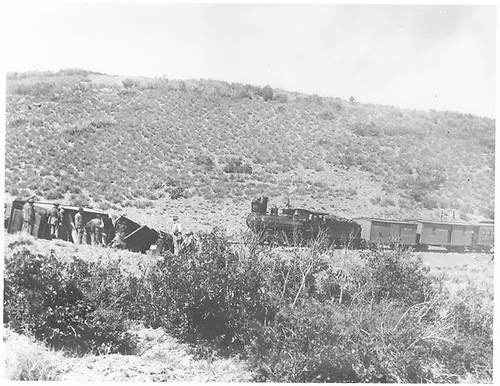 Engine #171 at unidentiified wreck site with work train.<br /> D&amp;RG    ? 6/17/1900