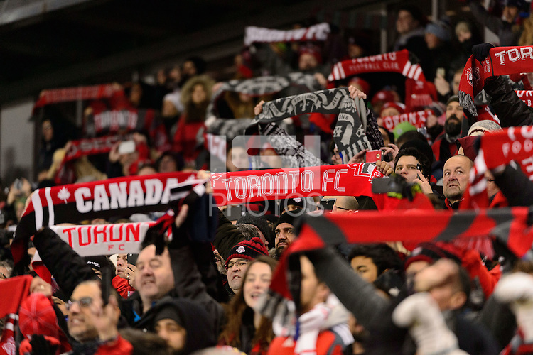 Toronto, ON, Canada - Saturday Dec. 10, 2016: Fans prior to the MLS Cup finals at BMO Field. The Seattle Sounders FC defeated Toronto FC on penalty kicks after playing a scoreless game.