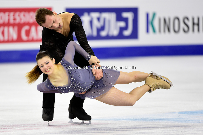 Thursday, March 31, 2016: Natalia Kaliszek and Maksim Spodirev (POL) compete in the Free Dance program at the International Skating Union World Championship held at TD Garden, in Boston, Massachusetts. Eric Canha/CSM