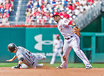 30 August 2015: Washington Nationals shortstop Ian Desmond turns a double-play to end the 5th inning against the Miami Marlins at Nationals Park in Washington, DC. The Nationals rallied to defeat the Marlins 7-4 in the third game of their 3-game weekend series. Mandatory Credit: Ed Wolfstein Photo *** RAW (NEF) Image File Available ***