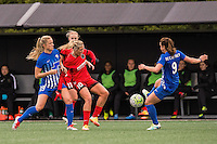 Allston, MA - Sunday, May 1, 2016:  Boston Breakers midfielder Kristie Mewis (19),, Portland Thorns FC midfielder Allie Long (10) and Boston Breakers forward Stephanie McCaffrey (9) in a match at Harvard University.
