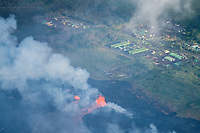 May 2018: An aerial view of lava approaching the Puna Geothermal Venture in Puna, Big Island of Hawai'i.