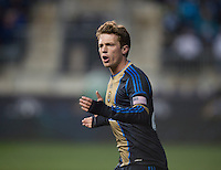 Antoine Hoppenot (29) of the Philadelphia Union disputes a referee's call during the game at PPL Park in Chester, PA.  The Philadelphia Union defeated the New England Revolution, 1-0.